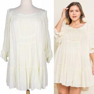 Boho Cloud 1X Flowy Off White Smocked Ruffle Dress